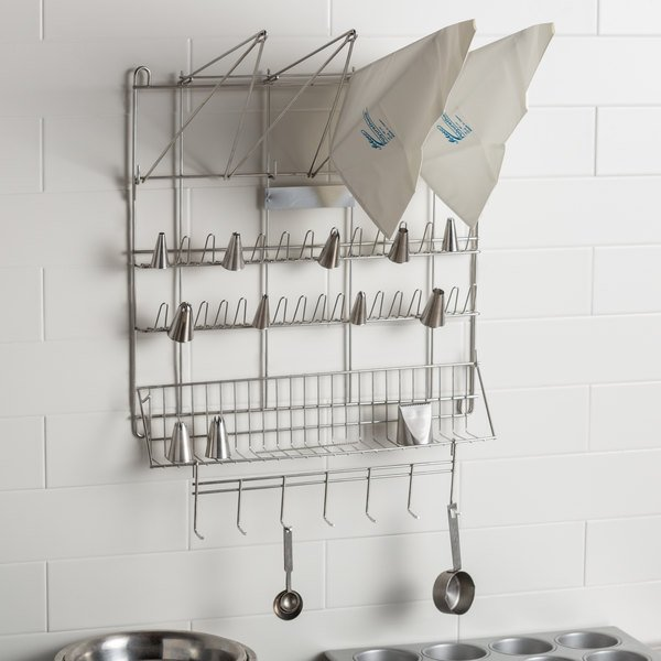 "Ateco 2999 Stainless Steel Pastry Bag and Tip Drying Rack - 23"" x 19 1/2"""