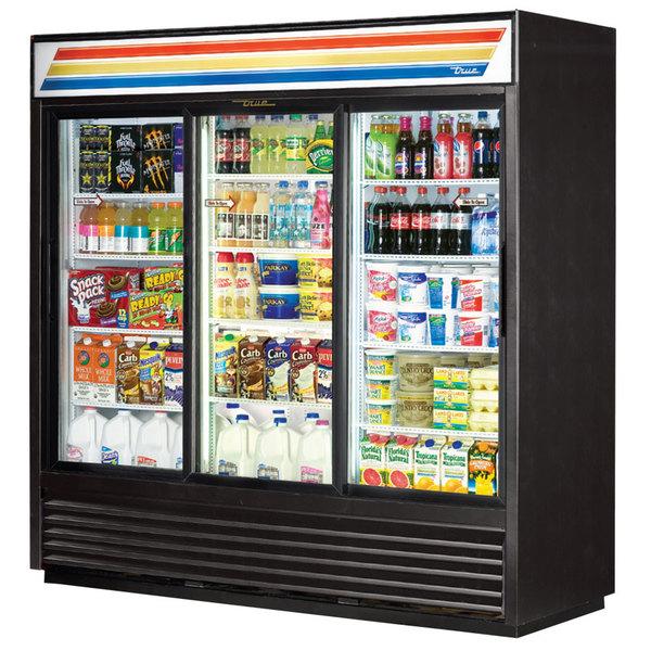 True GDM-69-LD 78 inch Three Section Sliding Glass Door Black Merchandising Refrigerator with LED Lighting