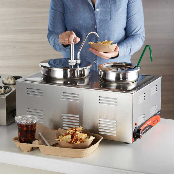"""Avantco 12"""" x 20"""" Full Size Electric Countertop Food Cooker / Warmer / Topping Station with 2 Insets, 1 (3 oz.) Ladle, 1 Condiment Pump, and 1 Lid - 120V, 1500W Main Image 2"""