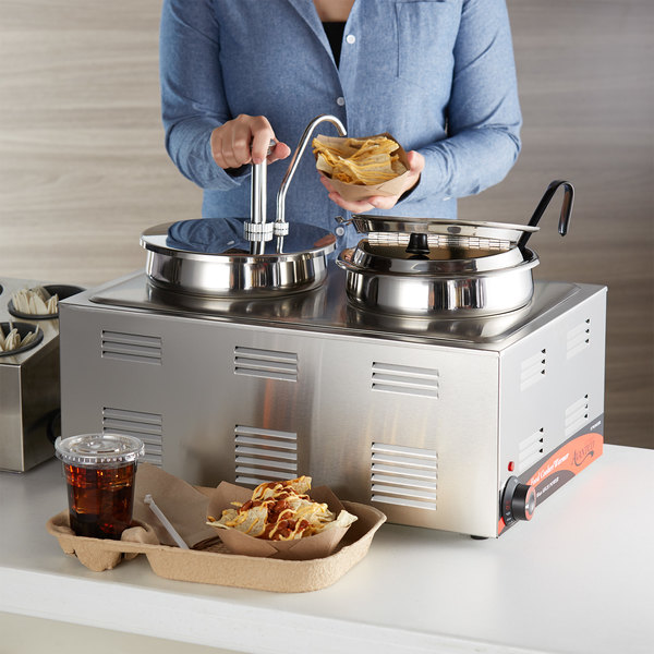 """Avantco 12"""" x 20"""" Full Size Electric Countertop Food Cooker / Warmer / Topping Station with 2 Insets, (1) 6 oz. Ladle, 1 Condiment Pump, and 1 Lid - 120V, 1500W Main Image 2"""