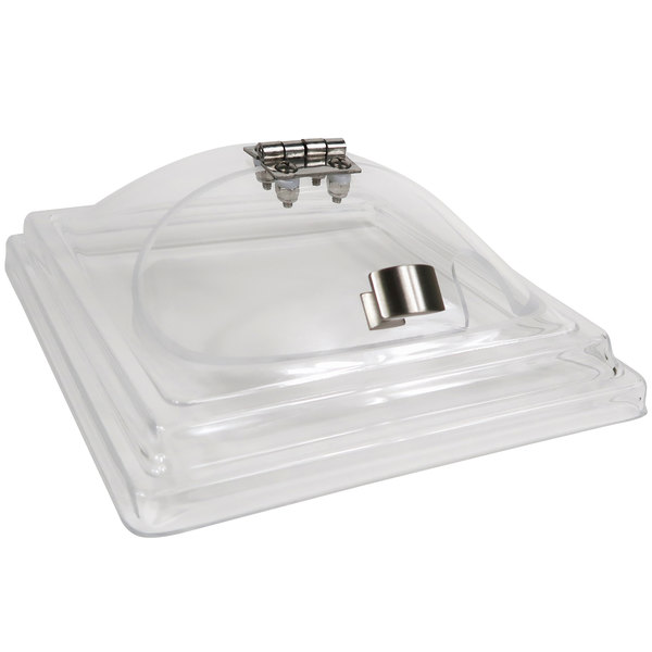 """Cal-Mil 3402-7N Cold Concept Acrylic Hinged Dome Lid with Handle - 8"""" x 8"""" x 3 1/2"""""""