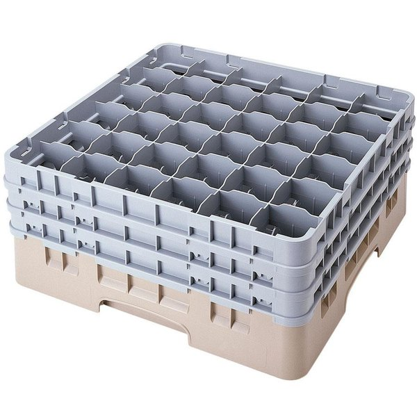 "Cambro 36S1214184 Beige Camrack Customizable 36 Compartment 12 5/8"" Glass Rack"