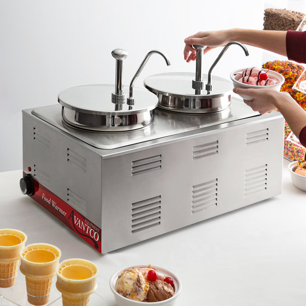 """Avantco 12"""" x 20"""" Full Size Electric Countertop Food Warmer / Topping Station with 2 Condiment Pumps - 120V, 1200W Main Image 5"""