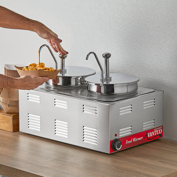 """Avantco 12"""" x 20"""" Full Size Electric Countertop Food Warmer / Topping Station with 2 Condiment Pumps - 120V, 1200W Main Image 4"""