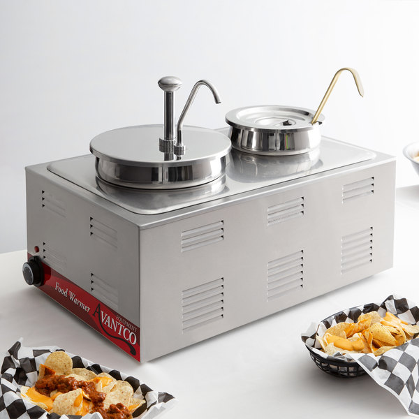 """Avantco 12"""" x 20"""" Full Size Electric Countertop Food Warmer / Topping Station with 1 Condiment Pump & (1) 4 Qt. Inset with Lid and 1 (3 oz.) Ladle - 120V, 1200W Main Image 6"""