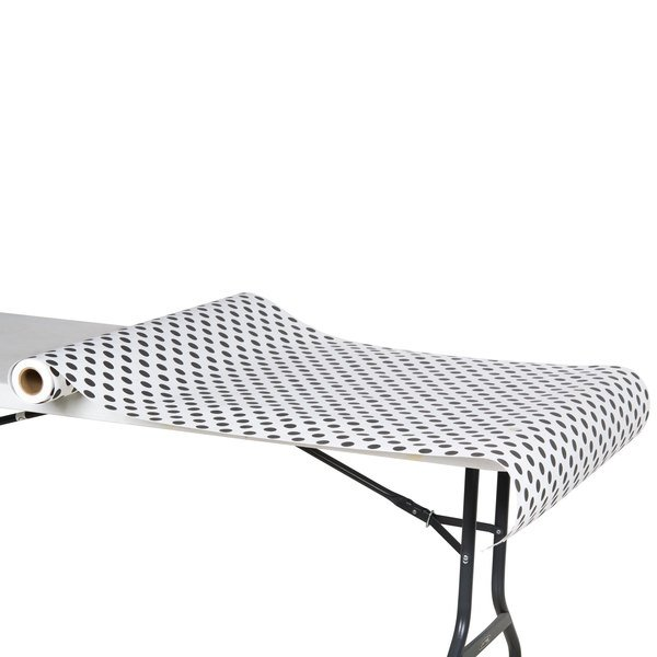 """40"""" x 100' Paper Table Cover with Black Polka Dots"""