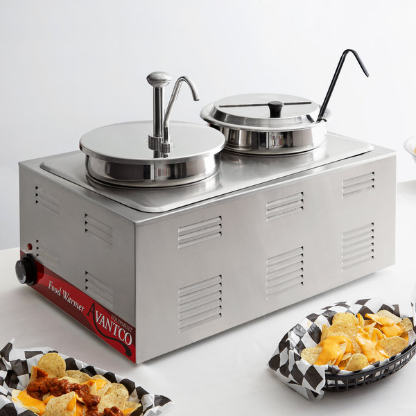 """Avantco 12"""" x 20"""" Full Size Electric Countertop Food Warmer / Topping Station with 1 Condiment Pump & (1) 7 Qt. Inset with Lid and Ladle - 120V, 1200W Main Image 6"""
