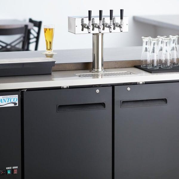 Avantco UDD-2-HC Four Tap Kegerator Beer Dispenser - Black, (2) 1/2 Keg  Capacity