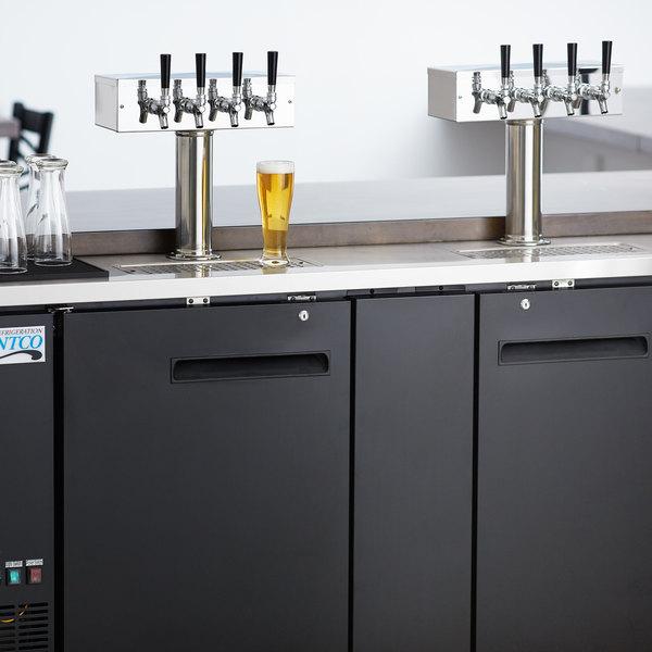 Avantco UDD-3-HC (2) Four Tap Kegerator Beer Dispenser - Black, (3) 1/2 Keg Capacity