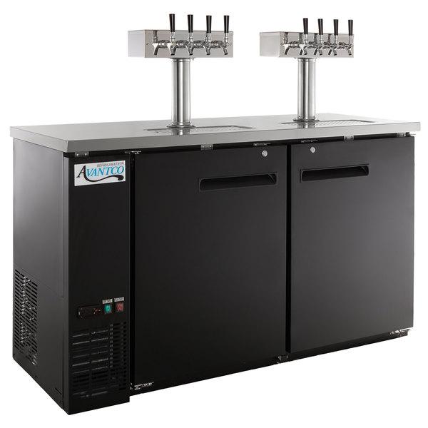 Avantco UDD-60-HC (2) Four Tap Shallow Depth Kegerator Beer Dispenser -  Black, (2) 1/2 Keg Capacity