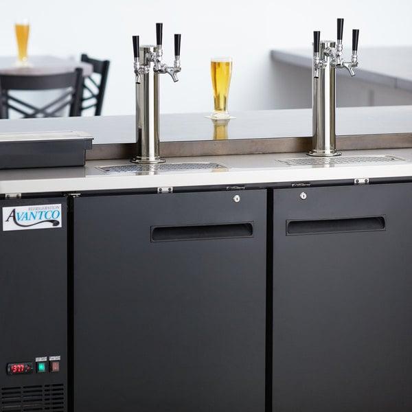 Avantco UDD-60-HC (2) Triple Tap Shallow Depth Kegerator Beer Dispenser - Black, (2) 1/2 Keg Capacity