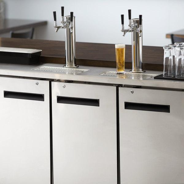 Avantco UDD-72-HC-S (2) Triple Tap Kegerator Beer Dispenser - Stainless Steel, (3) 1/2 Keg Capacity