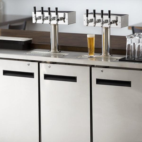 Avantco UDD-72-HC-S (2) Four Tap Kegerator Beer Dispenser - Stainless Steel, (3) 1/2 Keg Capacity