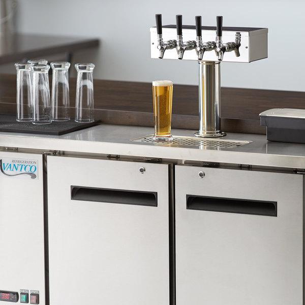 Avantco UDD-48-HC-S Four Tap Shallow Depth Kegerator Beer Dispenser - Stainless Steel, (2) 1/2 Keg Capacity