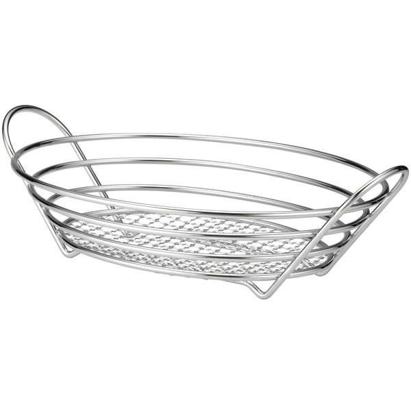 "Tablecraft H7176 Oval Chrome Plated Basket - 13 7/8"" x 10 3/4"" x 3 1/4"""
