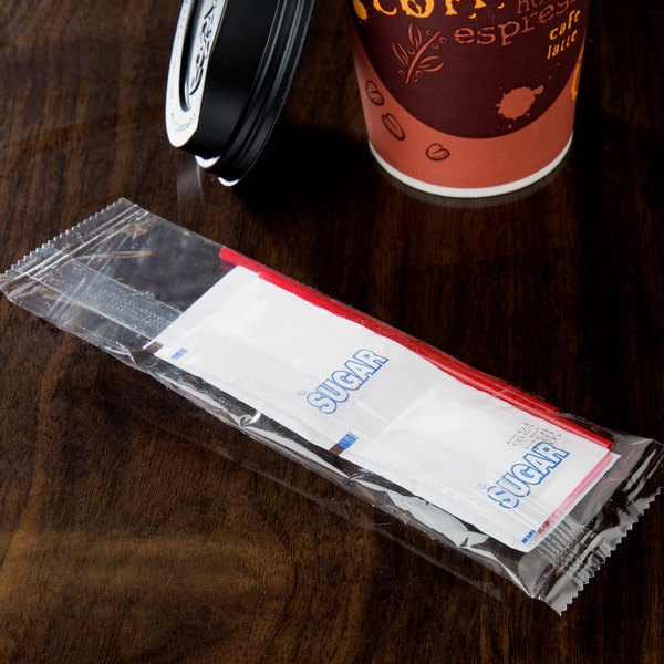 Double Serving Hot Beverage Condiment Kit with Clear Packaging - 200/Case