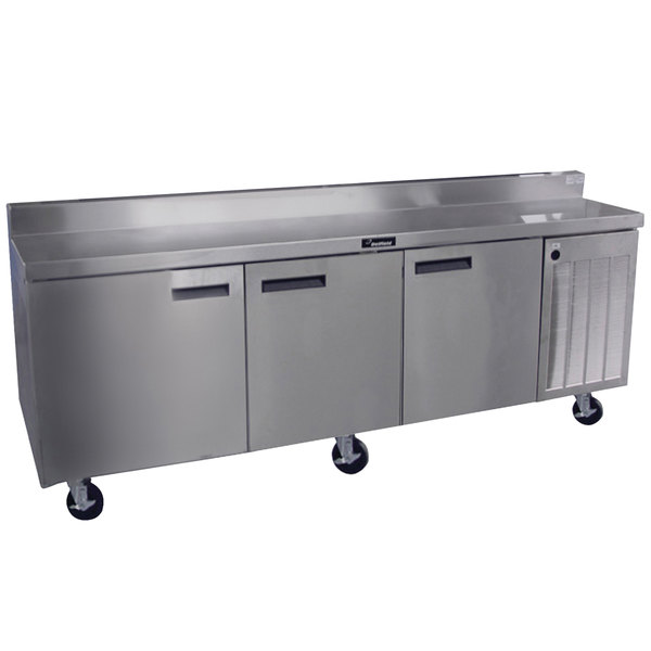 "Delfield 18699BSTMP 99"" Worktop Refrigerator with Three Doors and Backsplash Main Image 1"