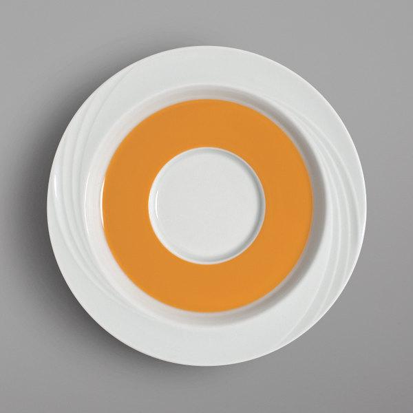 "Schonwald 9187130-62992 Donna Senior 6 5/8"" White and Orange Porcelain Special Saucer - 12/Case"