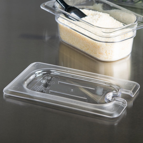 Cambro 90CWCN135 Camwear 1/9 Size Clear Polycarbonate Flat Lid with Spoon Notch