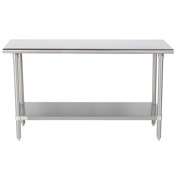 """Advance Tabco Premium Series SS-245 24"""" x 60"""" 14 Gauge Stainless Steel Commercial Work Table with Undershelf"""