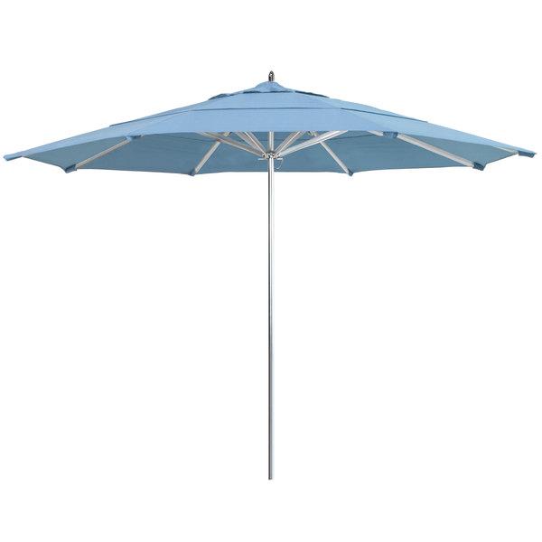"Air Blue California Umbrella AAT 118 SUNBRELLA 1A Rodeo 11' Round Push Lift Umbrella with 1 1/2"" Aluminum Pole - Sunbrella 1A Canopy"