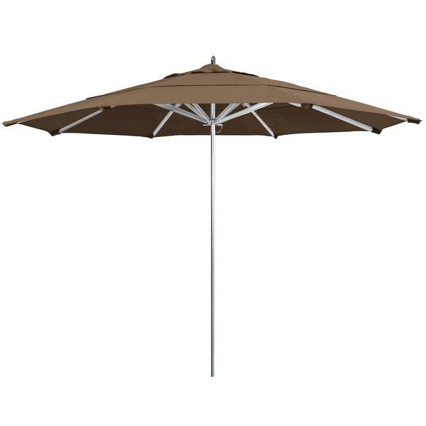 "Cocoa Fabric California Umbrella AAT 118 SUNBRELLA 1A Rodeo Customizable 11' Round Push Lift Umbrella with 1 1/2"" Aluminum Pole - Sunbrella 1A Canopy"