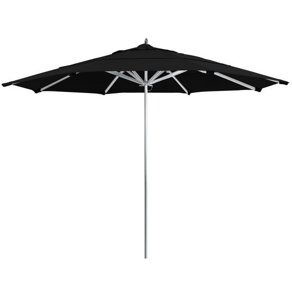 "Black Fabric California Umbrella AAT 118 SUNBRELLA 1A Rodeo Customizable 11' Round Push Lift Umbrella with 1 1/2"" Aluminum Pole - Sunbrella 1A Canopy"