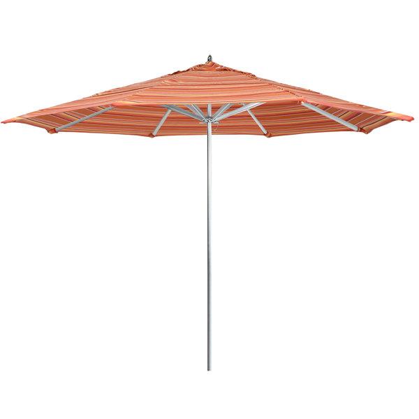 "Dolce Mango Fabric California Umbrella AAT 118 SUNBRELLA 1A Rodeo 11' Round Push Lift Umbrella with 1 1/2"" Aluminum Pole - Sunbrella 1A Canopy"