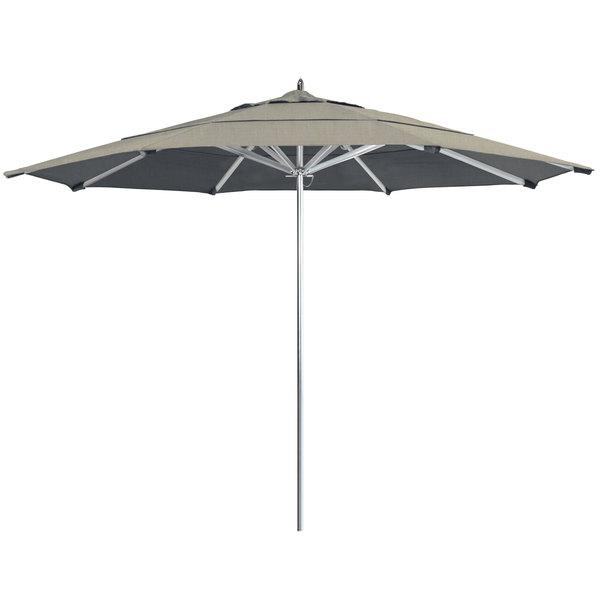 "Spectrum Dove Fabric California Umbrella AAT 118 SUNBRELLA 1A Rodeo 11' Round Customizable Push Lift Umbrella with 1 1/2"" Aluminum Pole - Sunbrella 1A Canopy"