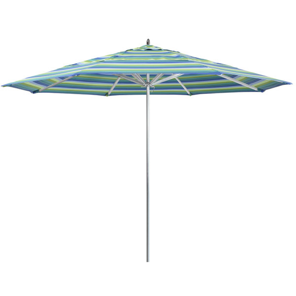 "Seville Seaside Fabric California Umbrella AAT 118 SUNBRELLA 1A Rodeo 11' Round Push Lift Umbrella with 1 1/2"" Aluminum Pole - Sunbrella 1A Canopy"