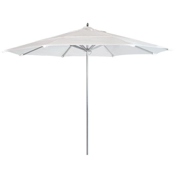 "Natural Fabric California Umbrella AAT 118 SUNBRELLA 1A Rodeo 11' Round Customizable Push Lift Umbrella with 1 1/2"" Aluminum Pole - Sunbrella 1A Canopy"