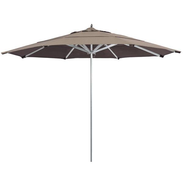 "Taupe Fabric California Umbrella AAT 118 SUNBRELLA 1A Rodeo 11' Round Push Lift Umbrella with 1 1/2"" Aluminum Pole - Sunbrella 1A Canopy"