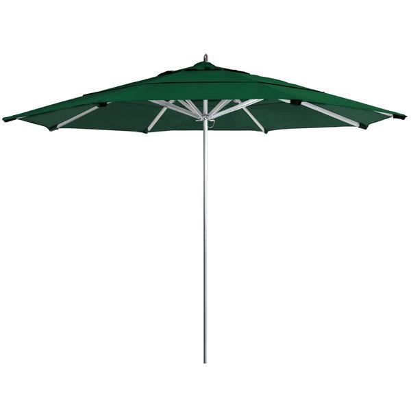 "Forest Green Fabric California Umbrella AAT 118 SUNBRELLA 1A Rodeo 11' Round Push Lift Umbrella with 1 1/2"" Aluminum Pole - Sunbrella 1A Canopy"