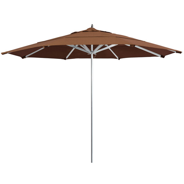 "Teak Fabric California Umbrella AAT 118 SUNBRELLA 1A Rodeo 11' Round Push Lift Umbrella with 1 1/2"" Aluminum Pole - Sunbrella 1A Canopy"