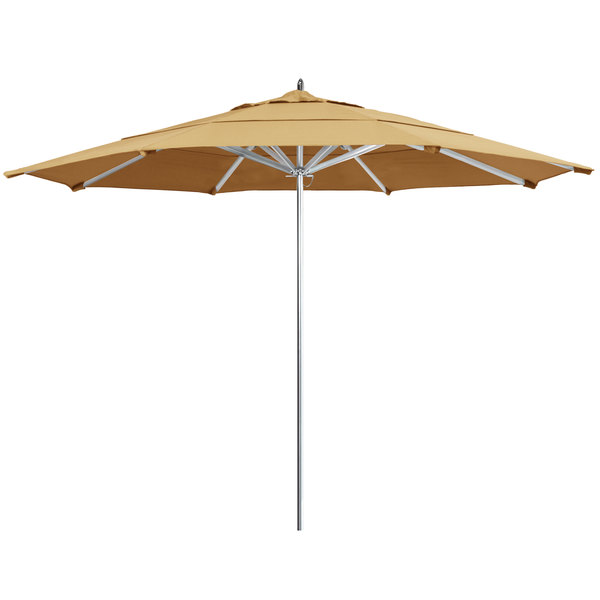 "Wheat Fabric California Umbrella AAT 118 SUNBRELLA 1A Rodeo 11' Round Push Lift Umbrella with 1 1/2"" Aluminum Pole - Sunbrella 1A Canopy"