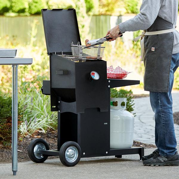 Backyard Pro BPM4G 4 Gallon Steel Liquid Propane Outdoor Deep Fryer with Mobile Stand - 90,000 BTU Main Image 3