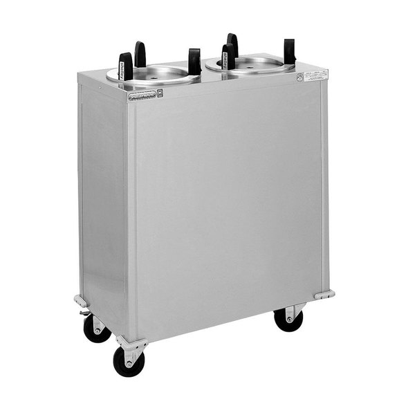 """Delfield CAB2-725ET Even Temp Mobile Enclosed Two Stack Heated Dish Dispenser / Warmer for 6 1/2"""" to 7 1/4"""" Dishes - 120V"""