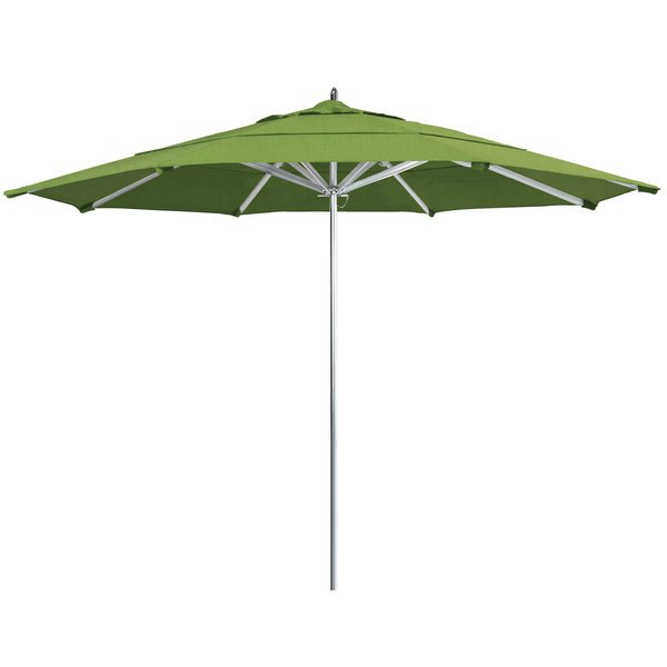 "Spectrum Cilantro Fabric California Umbrella AAT 118 SUNBRELLA 1A Rodeo 11' Round Customizable Push Lift Umbrella with 1 1/2"" Aluminum Pole - Sunbrella 1A Canopy"