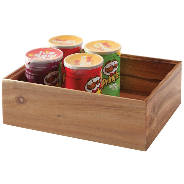 wooden box with cans of chips