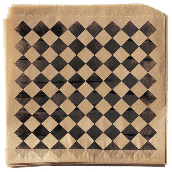 """Get Enterprises P-BKC-77-BR 7"""" x 7"""" Black Checker Double-Open Bag - 2000/Case Main Image 1"""