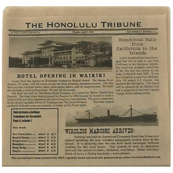 """GET Enterprises 4-T6000 7"""" x 7"""" Hawaiian Newsprint Double-Open Bag - 2000/Case"""