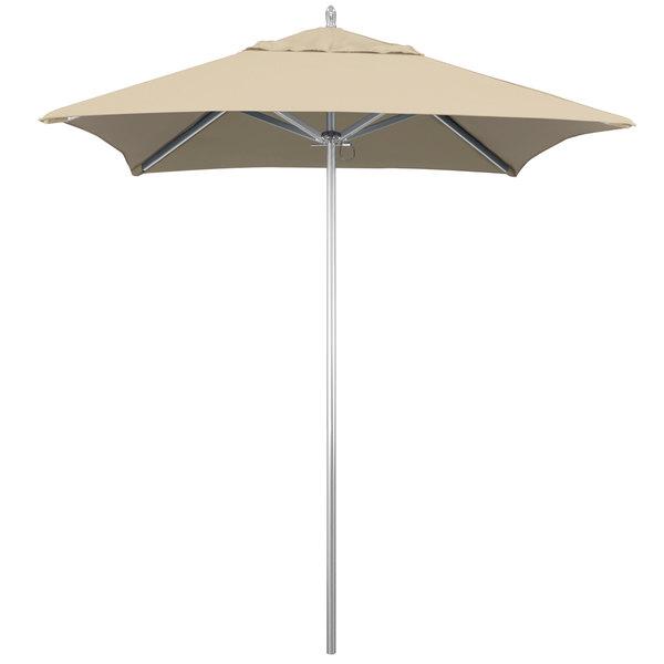 "Beige Fabric California Umbrella AAT 604 SUNBRELLA 1A Rodeo 6' Square Push Lift Umbrella with 1 1/2"" Aluminum Pole - Sunbrella 1A Canopy"