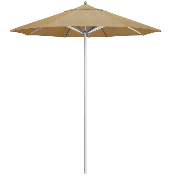 "Linen Sesame Fabric California Umbrella AAT 758 SUNBRELLA 2A Rodeo 7 1/2' Round Push Lift Umbrella with 1 1/2"" Aluminum Pole - Sunbrella 2A Canopy"