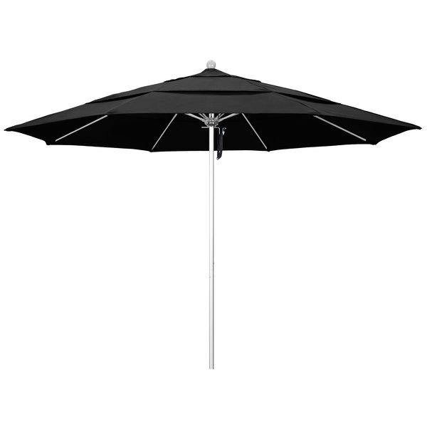 """Black Fabric California Umbrella ALTO 118 OLEFIN Venture 11' Round Pulley Lift Umbrella with 1 1/2"""" Silver Anodized Aluminum Pole - Olefin Canopy"""