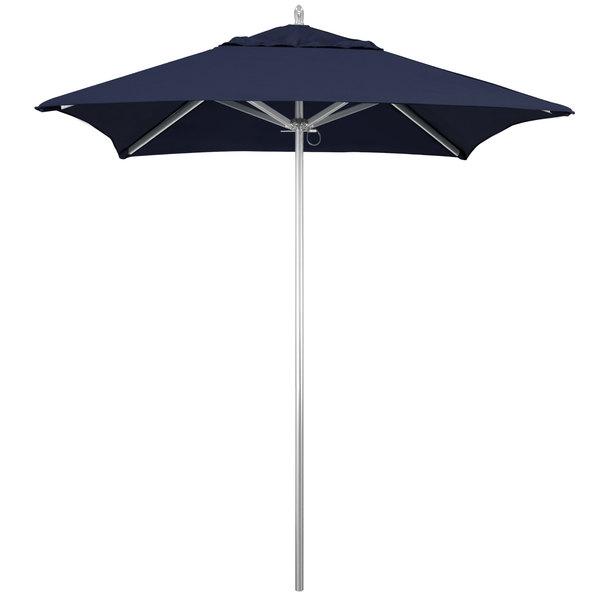 """Navy Fabric California Umbrella AAT 604 SUNBRELLA 1A Rodeo 6' Square Push Lift Umbrella with 1 1/2"""" Aluminum Pole - Sunbrella 1A Canopy"""