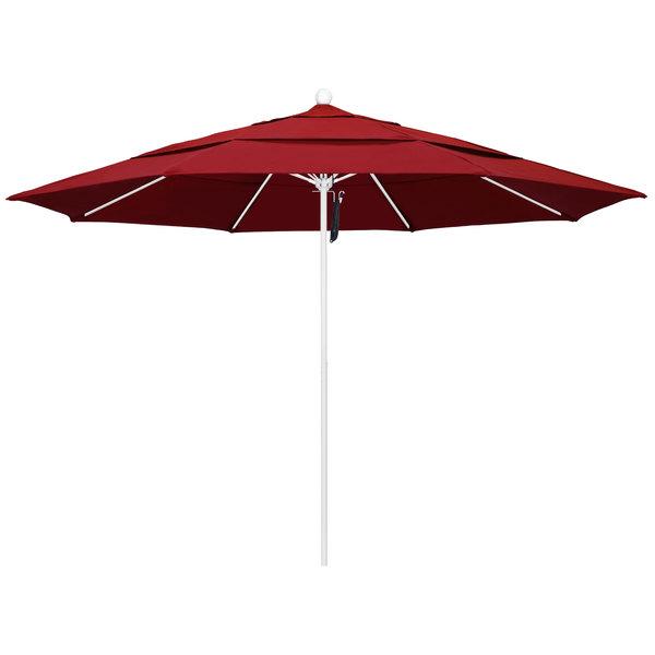 """Jockey Red Fabric California Umbrella ALTO 118 PACIFICA Venture 11' Round Pulley Lift Umbrella with 1 1/2"""" Matte White Aluminum Pole - Pacifica Canopy"""