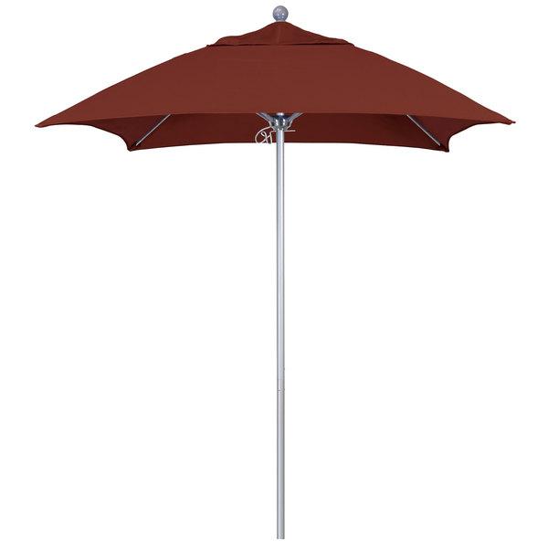 """Henna Fabric California Umbrella ALTO 604 SUNBRELLA 2A Venture 6' Square Push Lift Umbrella with 1 1/2"""" Silver Anodized Aluminum Pole - Sunbrella 2A Canopy"""