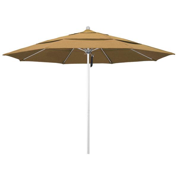 """Straw Fabric California Umbrella ALTO 118 OLEFIN Venture 11' Round Pulley Lift Umbrella with 1 1/2"""" Silver Anodized Aluminum Pole - Olefin Canopy"""