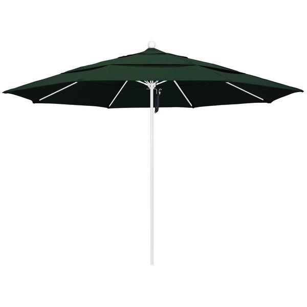 """Hunter Green Fabric California Umbrella ALTO 118 PACIFICA Venture 11' Round Pulley Lift Umbrella with 1 1/2"""" Matte White Aluminum Pole - Pacifica Canopy"""