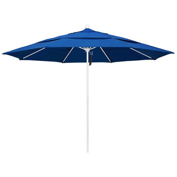 "Pacific Blue Fabric California Umbrella ALTO 118 PACIFICA Venture 11' Round Pulley Lift Umbrella with 1 1/2"" Matte White Aluminum Pole - Pacifica Canopy"